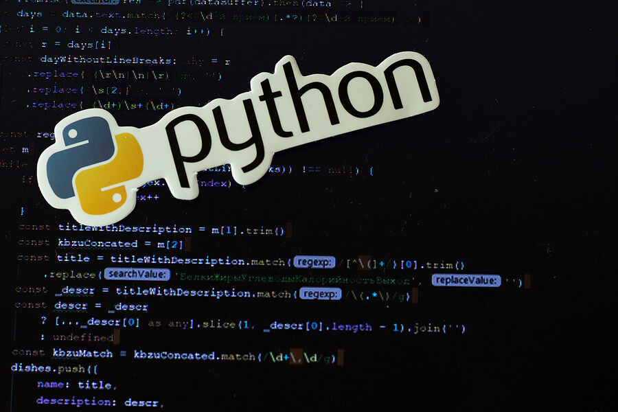 Python logo sign with programming code